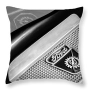 1949 Ford F-1 Pickup Truck Step Plate Emblem -0043bw Throw Pillow