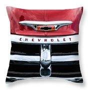 1955 Chevrolet 3100 Pickup Truck Grille Emblem Throw Pillow
