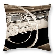 1956 Oldsmobile Starfire 98 Steering Wheel And Dashboard Throw Pillow