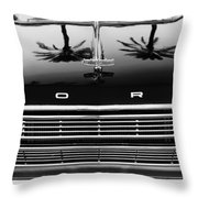 1966 Ford Galaxie 500 Convertible Grille Emblem - Hood Ornament Throw Pillow