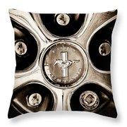 1966 Ford Mustang Gt Wheel Emblem Throw Pillow