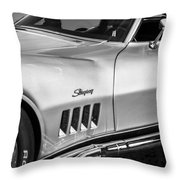 1969 Chevrolet Corvette 427  Bw Throw Pillow