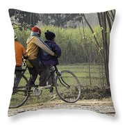 3 Young Children On A Cycle At The Side Of The Road Throw Pillow