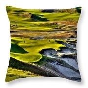 #9 At Chambers Bay Golf Course Throw Pillow by David Patterson