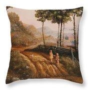 A Country Lane Throw Pillow