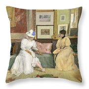 A Friendly Call Throw Pillow by William Merritt Chase