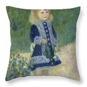 A Girl With A Watering Can Throw Pillow