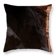 A Glimpse Of Al Khazneh From The Siq In Petra Jordan Throw Pillow