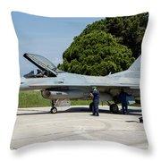 A Hellenic Air Force F-16c Block 52+ Throw Pillow