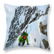 A Man Alpine Climbing A Ridgeline Throw Pillow