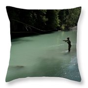 A Man Casts In A River Wearing Waders Throw Pillow