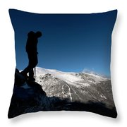 A Man Hikes The Boott Spur Link Throw Pillow