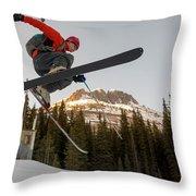 A Man Jumping On His Skis, San Juan Throw Pillow