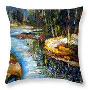 A Morning At River Bank Park Ny Throw Pillow