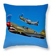 A P-40e Warhawk And A P-51d Mustang Throw Pillow