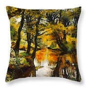 A River Landscape In Springtime Throw Pillow