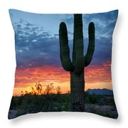 A Saguaro Sunset  Throw Pillow