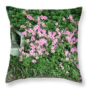 A Seat By The Flowers Throw Pillow