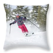 A Skier Descends A Snowy Slope Throw Pillow