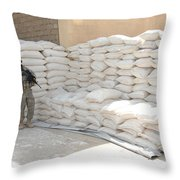 A U.s. Soldier Provides Security Throw Pillow