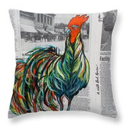 A Well Read Rooster Throw Pillow