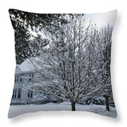 A Wintery View Along Conifer Drive In Burnt Hills Throw Pillow