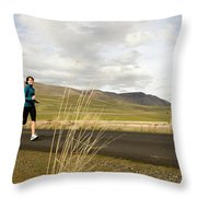 A Woman Out For A Jog In The Country Throw Pillow