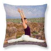 A Woman Practicing Yoga On A Dry Lake Throw Pillow