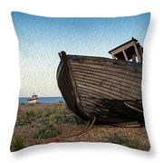 Abandoned Fishing Boat Digital Painting Throw Pillow