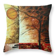 Abstract Gold Textured Landscape Painting By Madart Throw Pillow