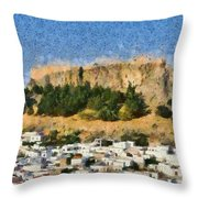 Acropolis And Village Of Lindos Throw Pillow by George Atsametakis