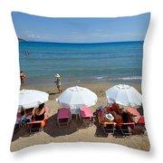 Agia Marina Beach Throw Pillow