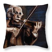 Albert Einstein And Violin Throw Pillow