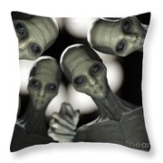Alien Abduction Throw Pillow