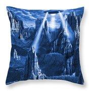 Alien Planet In Blue Throw Pillow by Mike McGlothlen
