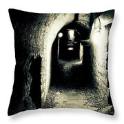 Altered Image Of A Tunnel In The Catacombs Of Paris France Throw Pillow