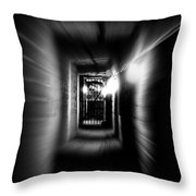Altered Image Of A Tunnel Leading Out Of The Catacombs In Paris France Throw Pillow