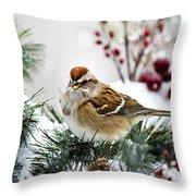 Christmas Sparrow Throw Pillow