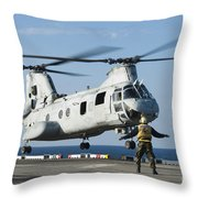 An Aviation Boatswains Mate Directs Throw Pillow