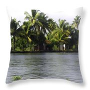 An Isolated Cottage Next To A Lake Throw Pillow