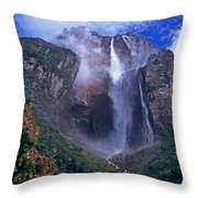 Angel Falls In Canaima National Park Venezuela Throw Pillow