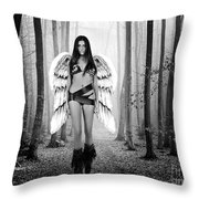 Angel In The Forest Throw Pillow