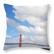 April Bridge In Lisbon Throw Pillow