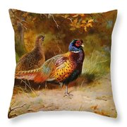 Autumn Covert Pheasants Throw Pillow