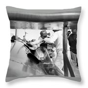 Art Arfons In Cockpit Of Green Hornet Throw Pillow