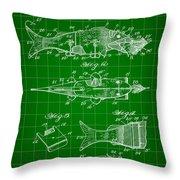 Artificial Bait Patent 1923 - Green Throw Pillow