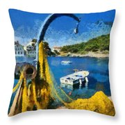 Asos Village In Kefallonia Island Throw Pillow