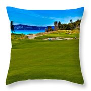 #2 At Chambers Bay Golf Course - Location Of The 2015 U.s. Open Championship Throw Pillow by David Patterson