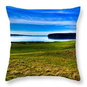 #2 At Chambers Bay Golf Course - Location Of The 2015 U.s. Open Tournament Throw Pillow by David Patterson
