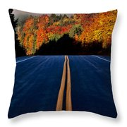 Autumn Colors And Road  Throw Pillow